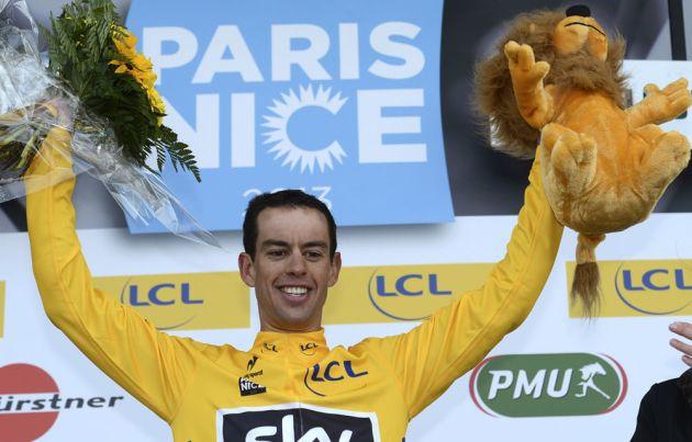 Richie Porte on podium, Paris-Nice 2013, stage five
