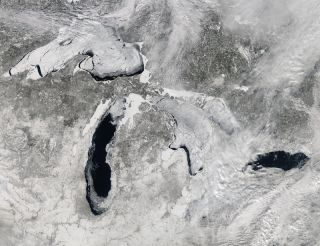 Frozen Great Lakes Seen from Space