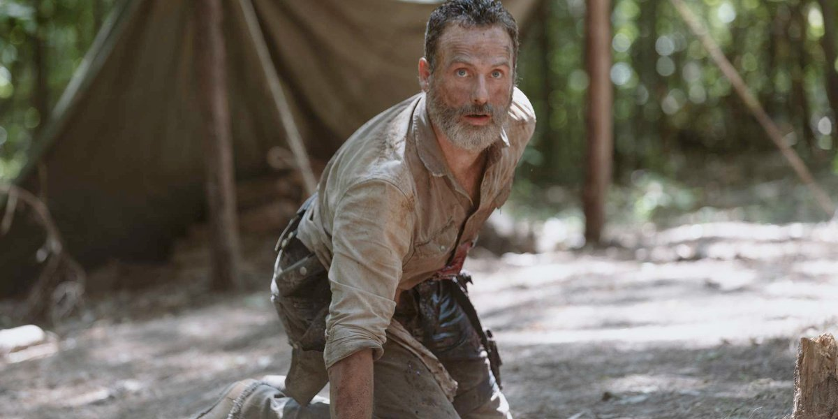 Rick injured in The Walking Dead.