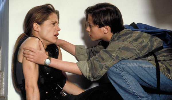 Linda Hamilton (Sarah Connor) and Edward Furlong (John Connor) in Terminator 2