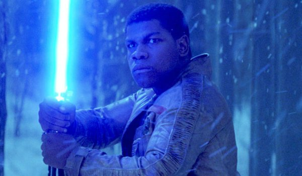 Finn holding lightsaber the force awakens