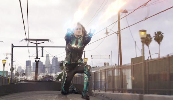 Carol Danvers shooting photon blasts in Captain Marvel