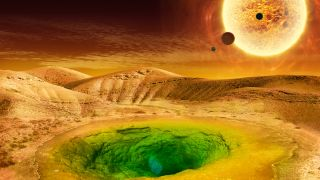 An artist's depiction of what a habitable exoplanet might look like.