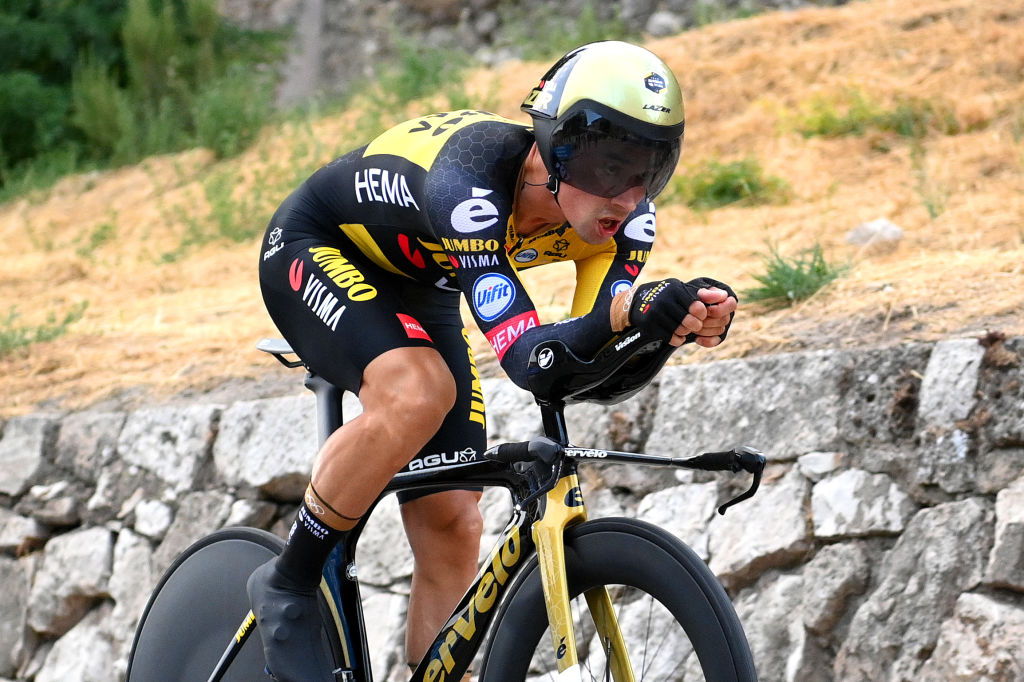 BURGOS SPAIN AUGUST 14 Primoz Roglic of Slovenia and Team Jumbo Visma competes during the 76th Tour of Spain 2021 Stage 1 a 71km individual time trial from Burgos Catedral de Santa Mara to Burgos lavuelta LaVuelta21 CapitalMundialdelCiclismo catedral2021 on August 14 2021 in Burgos Spain Photo by Stuart FranklinGetty Images