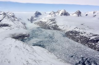 This image of a so-called ice melange was taken during an April 25 IceBridge flight.