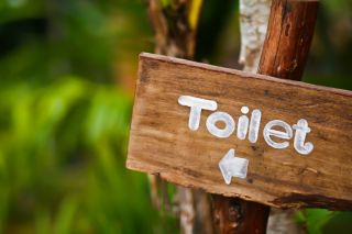 A wooden sign indicates the location of a toilet