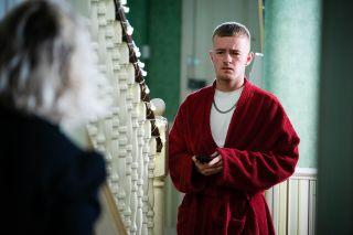 Liam Butcher talks to Janine Butcher in EastEnders