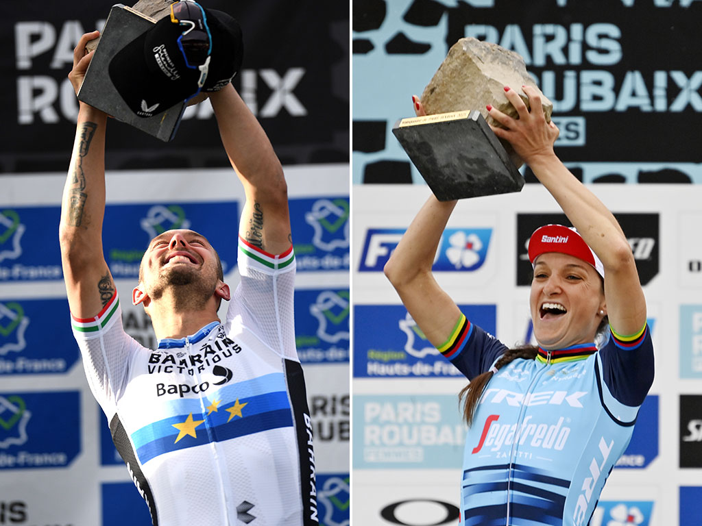 Sonny Colbrelli and Lizzie Deignan, winners of the 2021 Paris-Roubaix