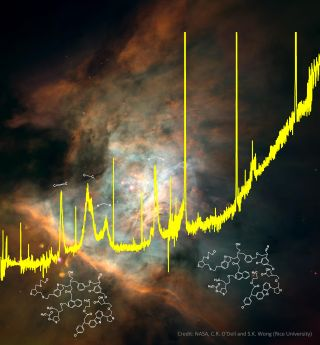 A spectrum from the European Space Agency's Infrared Space Observator superimposed on an image of the Orion nebula, where these complex organics are found.