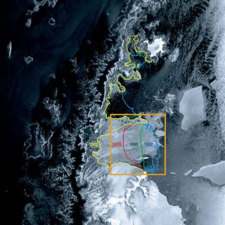 This image of the Larsen Ice Shelf B was taken in 2002 by the satellite Envisat. Earlier levels extents are marked. Since Envisat was launched in 2002, the ice shelf has declined further.