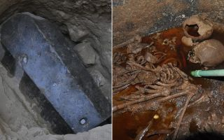 This 2,000-year-old black, granite sarcophagus was found in Alexandria, Egypt. Inside, archaeologists found a mix of sewage and skeletons.