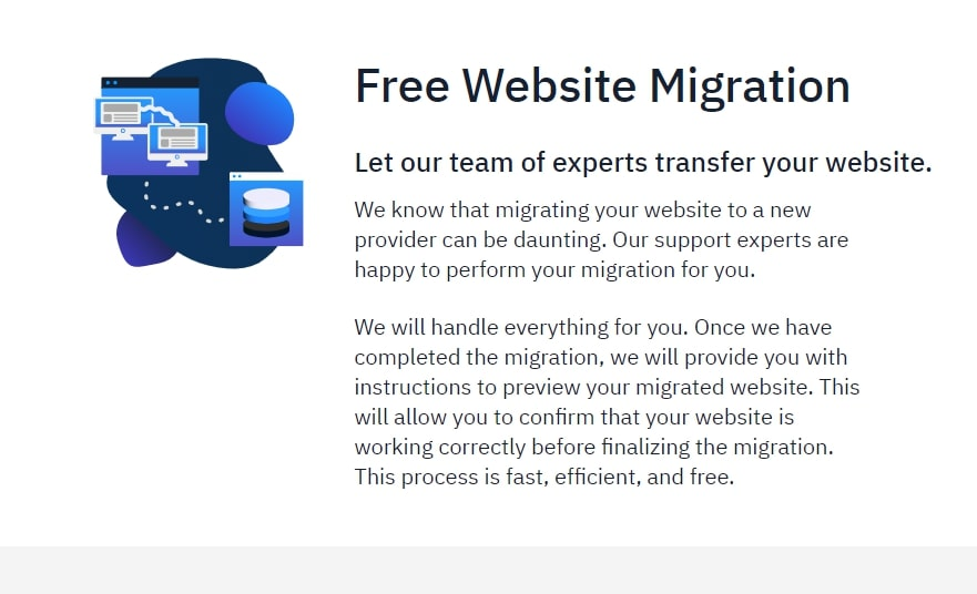 Hostwinds' free site migration webpage discussing the service