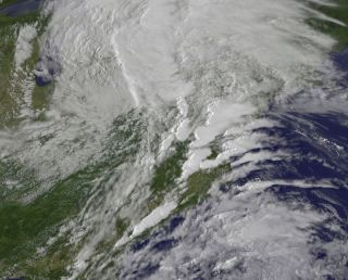 A satellite image of the clouds that spawned 9 Maryland tornadoes.