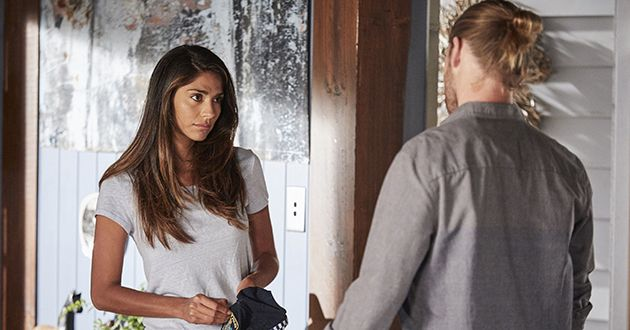 Ash Ashford hands Kat Chapman her police cap and she realizes her relationship with Ash Ashford is over in Home And Away.