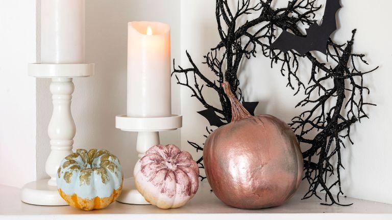 halloween painted pumpkins in metallic