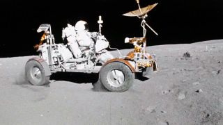 NASA astronaut Charles Duke filmed Commander John Young as Young drove the Lunar Roving Vehicle, in footage shot on April 21, 1972 during the fifth day of the Apollo 16 moon landing.