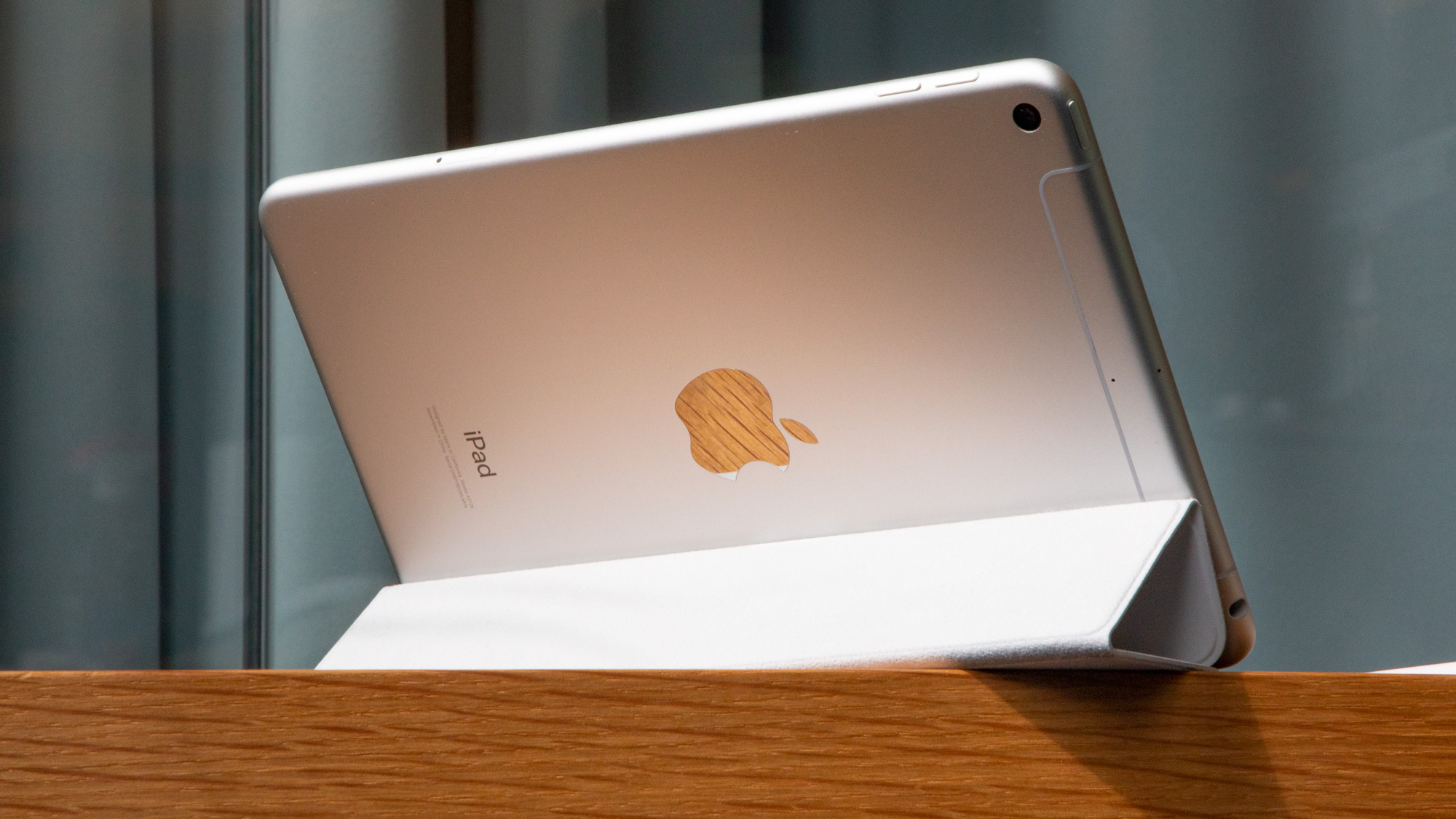 An iPad mini (2019) from the back on a wooden surface