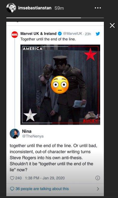 Sebastian Stan Instagram Cap and Bucky