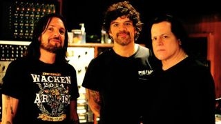 Tommy Victor, Joey Castillo and Glenn Danzig in the studio