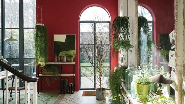 Red hallway paint ideas by Farrow & Ball using shade Rectory Red