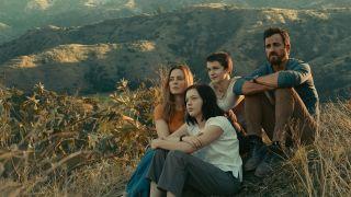 "Justin Theroux, Melissa George, Logan Polish and Gabriel Bateman in ""The Mosquito Coast"" on Apple TV Plus."