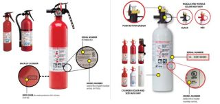 An image of the fire extinguishers recalled by Kiddie.