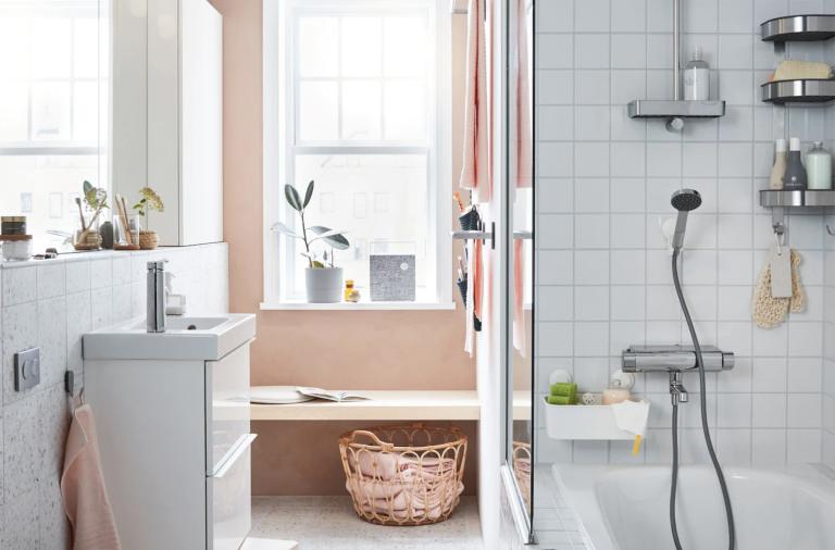 Small bathroom storage ideas in a pink Ikea bathroom