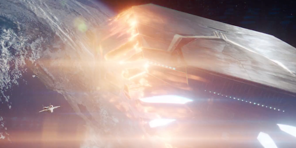 An alien ship decloaking in Earth's orbit in Captain Marvel