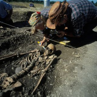 excavation of the grave at Ajvide, Gotland, Sweden