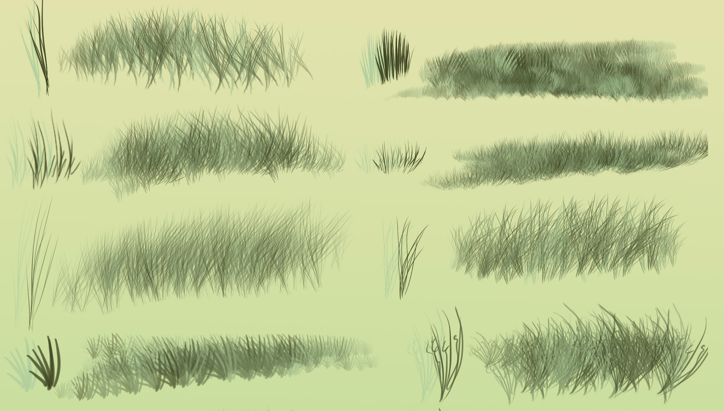 Photoshop brushes: Grass or fur