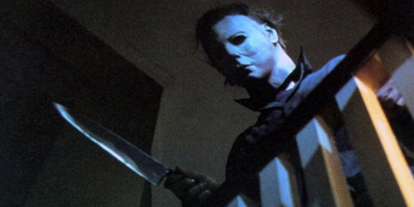 Halloween Michael Meyers knife at the bannister