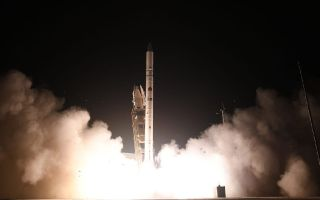 An Israeli Shavit 2 rocket launches the Ofek 16 reconnaissance satellite into orbit from the Palmachim air base in central Israel on July 6, 2020.