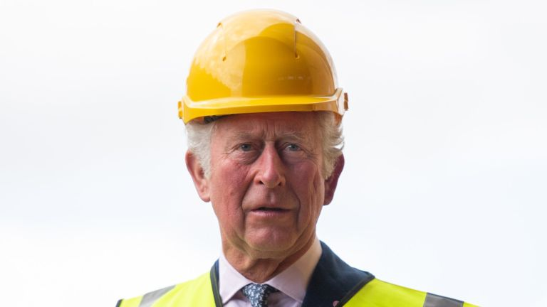 BELFAST, NORTHERN IRELAND - MAY 18: Prince Charles, Prince of Wales visits the Harland & Wolff shipyard on May 18, 2021 in Belfast, Northern Ireland. His Royal Highness celebrates the shipyard's 160th anniversary as part of the long history of commercial shipbuilding in Belfast. (Photo by Samir Hussein - Pool / Getty Images)