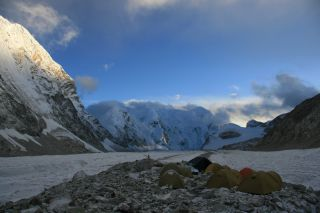 A photo from the expedition reveals the high-altitude glacial conditions where the scientists camped.