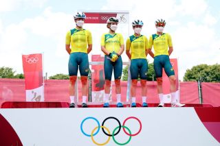 OYAMA JAPAN JULY 25 LR Grace Brown Sarah Gigante Amanda Spratt Tiffany Cromwell of Team Australia prior to during the Womens road race on day two of the Tokyo 2020 Olympic Games at Fuji International Speedway on July 25 2021 in Oyama Shizuoka Japan Photo by Michael SteeleGetty Images