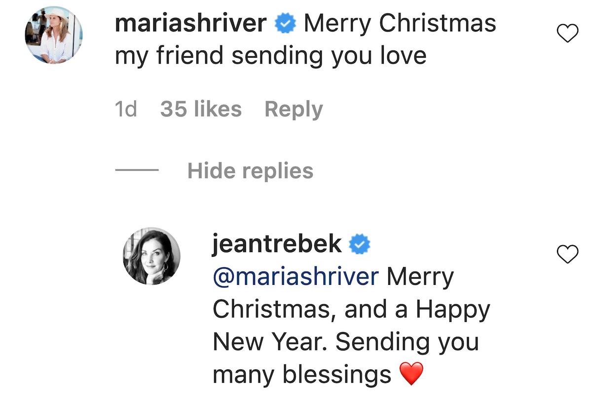 maria shriver and jean trebek instagram exchange