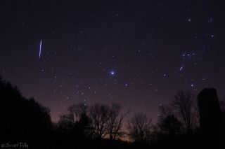 Photographer Scott Tully captured this view of a Leonid meteor over rural Connecticut before sunrise on Nov. 17, 2012