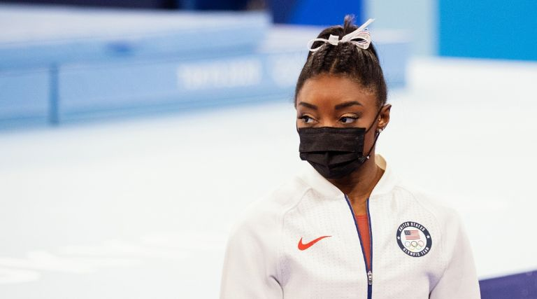 Simone Biles of United States of America competing on Women's Team Final during the Tokyo 2020 Olympic Games at the Ariake Gymnastics Centre on July 27, 2021 in Tokyo, Japan