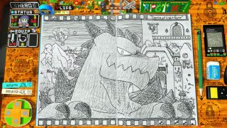 Screenshot of a notebook with a drawing of a menacing dragon [Image: Desk Works]