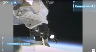 The CUAVA-1 satellite departs from the International Space Station.