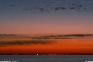 Mercury and Jupiter shine in this amazing view of the night sky captured by Pete Lawrence on March 13, 2011. Venus, Jupiter, Mercury and Saturn are all visible in the May 2015 night sky.