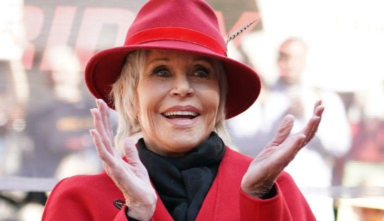 Jane Fonda speaking at Los Angeles City Hall on February 07, 2020 in Los Angeles, California.