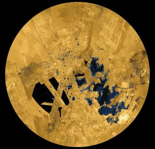 Cassini Image of Titan's Northern Seas and Lakes