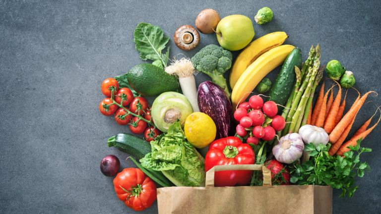 The DASH DIET fruit and veg in shopping bag