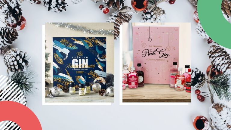 gin advent calendars: side-by-side collage of Master of Malt and The Bottle Club gin advent calendars for Christmas 2021