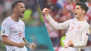 Switzerland vs Spain live stream at Euro 2020 — Alvaro Morata of Spain and Haris Seferovic of Switzerland