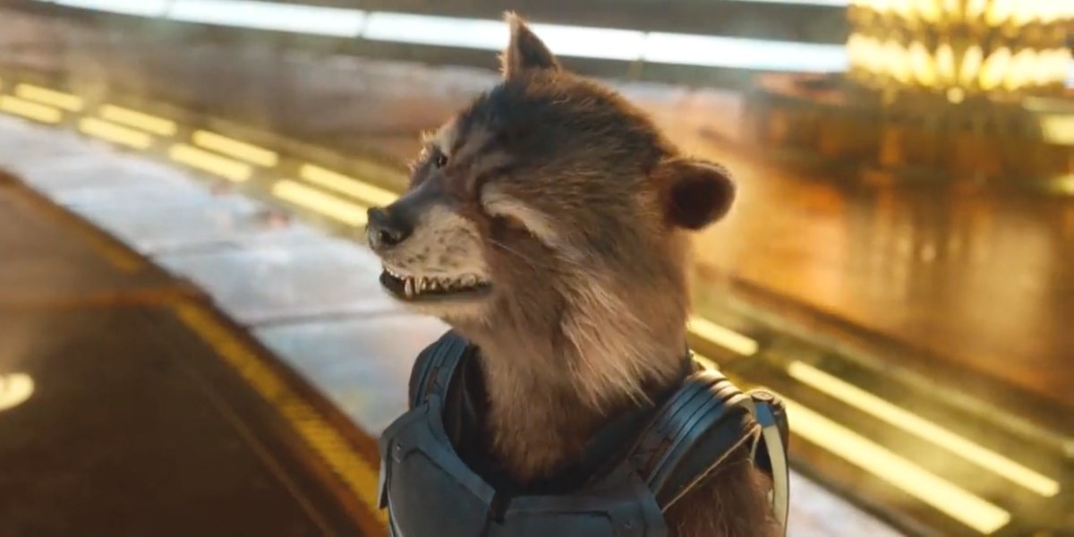 """Rocket Raccoon with a little """"wink, wink"""" action"""