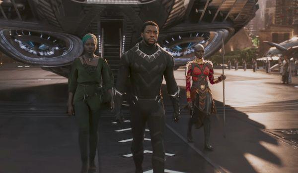Chadwick Boseman Lupita Nyong'o and Danai Gurira in Black Panther