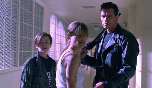 Edward Furlong, Linda Hamilton, and Arnold Schwarzenegger in Terminator 2