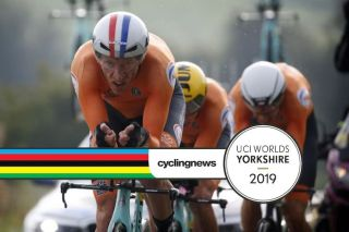 Jos Van Emden leads the ultimately successful Dutch charge in the mixed relay TTT at the 2019 World Championships